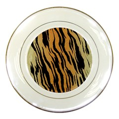Tiger Animal Print A Completely Seamless Tile Able Background Design Pattern Porcelain Plates by Amaryn4rt