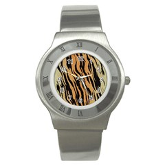 Tiger Animal Print A Completely Seamless Tile Able Background Design Pattern Stainless Steel Watch by Amaryn4rt