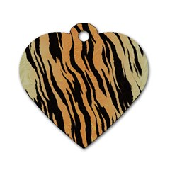 Tiger Animal Print A Completely Seamless Tile Able Background Design Pattern Dog Tag Heart (two Sides) by Amaryn4rt