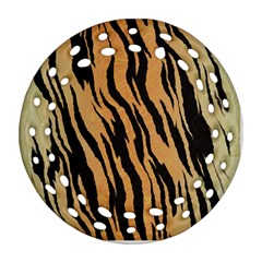 Tiger Animal Print A Completely Seamless Tile Able Background Design Pattern Round Filigree Ornament (two Sides) by Amaryn4rt