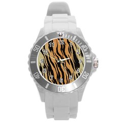 Tiger Animal Print A Completely Seamless Tile Able Background Design Pattern Round Plastic Sport Watch (l) by Amaryn4rt
