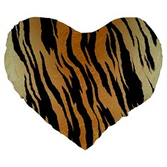 Tiger Animal Print A Completely Seamless Tile Able Background Design Pattern Large 19  Premium Flano Heart Shape Cushions by Amaryn4rt
