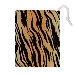 Tiger Animal Print A Completely Seamless Tile Able Background Design Pattern Drawstring Pouches (extra Large) by Amaryn4rt