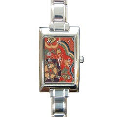 Vintage Chinese Brocade Rectangle Italian Charm Watch by Amaryn4rt