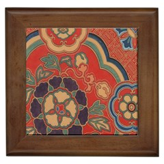 Vintage Chinese Brocade Framed Tiles by Amaryn4rt