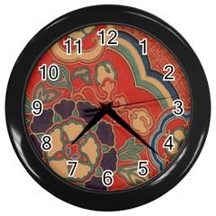 Vintage Chinese Brocade Wall Clocks (black) by Amaryn4rt