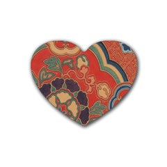 Vintage Chinese Brocade Heart Coaster (4 Pack)  by Amaryn4rt