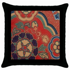 Vintage Chinese Brocade Throw Pillow Case (black) by Amaryn4rt
