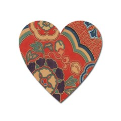 Vintage Chinese Brocade Heart Magnet by Amaryn4rt
