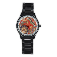 Vintage Chinese Brocade Stainless Steel Round Watch by Amaryn4rt