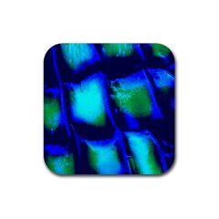 Blue Scales Pattern Background Rubber Coaster (square)  by Amaryn4rt