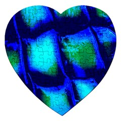 Blue Scales Pattern Background Jigsaw Puzzle (heart) by Amaryn4rt