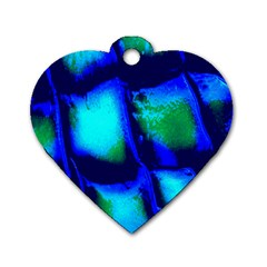 Blue Scales Pattern Background Dog Tag Heart (two Sides) by Amaryn4rt