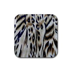 Tiger Background Fabric Animal Motifs Rubber Coaster (square)  by Amaryn4rt