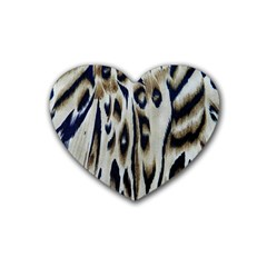 Tiger Background Fabric Animal Motifs Rubber Coaster (heart)  by Amaryn4rt