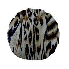 Tiger Background Fabric Animal Motifs Standard 15  Premium Round Cushions by Amaryn4rt