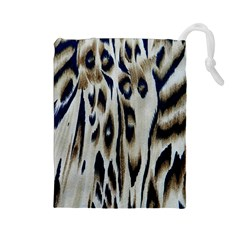 Tiger Background Fabric Animal Motifs Drawstring Pouches (large)  by Amaryn4rt