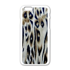 Tiger Background Fabric Animal Motifs Apple Iphone 6/6s White Enamel Case by Amaryn4rt