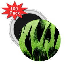 Green Tiger Background Fabric Animal Motifs 2 25  Magnets (100 Pack)  by Amaryn4rt
