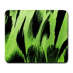 Green Tiger Background Fabric Animal Motifs Large Mousepads by Amaryn4rt