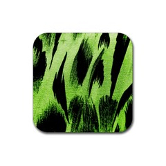 Green Tiger Background Fabric Animal Motifs Rubber Square Coaster (4 Pack)  by Amaryn4rt