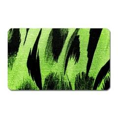 Green Tiger Background Fabric Animal Motifs Magnet (rectangular) by Amaryn4rt