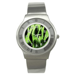 Green Tiger Background Fabric Animal Motifs Stainless Steel Watch by Amaryn4rt
