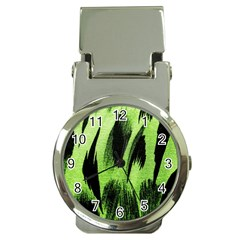 Green Tiger Background Fabric Animal Motifs Money Clip Watches by Amaryn4rt