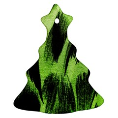 Green Tiger Background Fabric Animal Motifs Christmas Tree Ornament (two Sides)