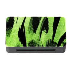 Green Tiger Background Fabric Animal Motifs Memory Card Reader With Cf by Amaryn4rt