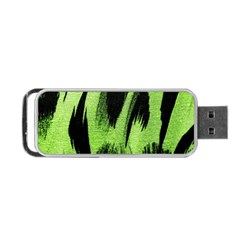 Green Tiger Background Fabric Animal Motifs Portable Usb Flash (two Sides) by Amaryn4rt