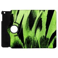 Green Tiger Background Fabric Animal Motifs Apple Ipad Mini Flip 360 Case