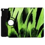 Green Tiger Background Fabric Animal Motifs Apple iPad Mini Flip 360 Case Front