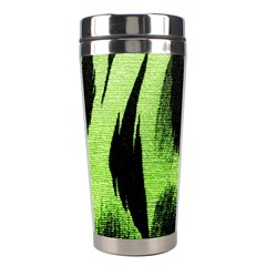 Green Tiger Background Fabric Animal Motifs Stainless Steel Travel Tumblers by Amaryn4rt