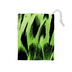 Green Tiger Background Fabric Animal Motifs Drawstring Pouches (medium)  by Amaryn4rt