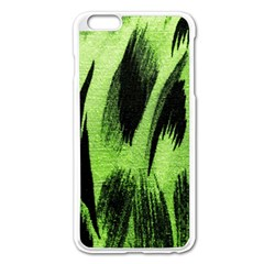 Green Tiger Background Fabric Animal Motifs Apple Iphone 6 Plus/6s Plus Enamel White Case by Amaryn4rt