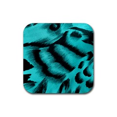 Blue Background Fabric Tiger  Animal Motifs Rubber Square Coaster (4 Pack)  by Amaryn4rt