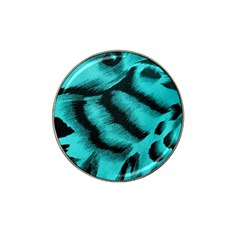 Blue Background Fabric Tiger  Animal Motifs Hat Clip Ball Marker by Amaryn4rt