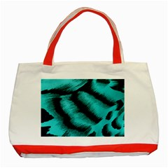 Blue Background Fabric Tiger  Animal Motifs Classic Tote Bag (red) by Amaryn4rt