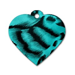 Blue Background Fabric Tiger  Animal Motifs Dog Tag Heart (one Side) by Amaryn4rt