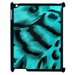 Blue Background Fabric Tiger  Animal Motifs Apple Ipad 2 Case (black) by Amaryn4rt