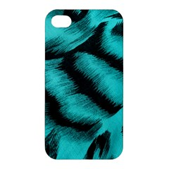 Blue Background Fabric Tiger  Animal Motifs Apple Iphone 4/4s Premium Hardshell Case by Amaryn4rt