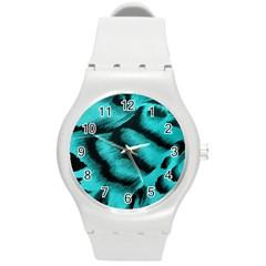 Blue Background Fabric Tiger  Animal Motifs Round Plastic Sport Watch (m) by Amaryn4rt