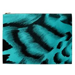 Blue Background Fabric Tiger  Animal Motifs Cosmetic Bag (xxl)  by Amaryn4rt