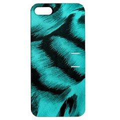 Blue Background Fabric Tiger  Animal Motifs Apple Iphone 5 Hardshell Case With Stand by Amaryn4rt
