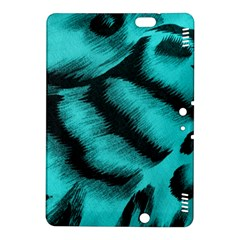 Blue Background Fabric Tiger  Animal Motifs Kindle Fire Hdx 8 9  Hardshell Case by Amaryn4rt