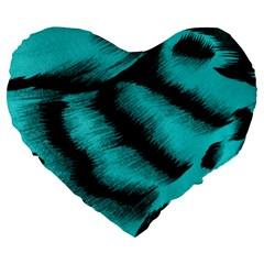 Blue Background Fabric Tiger  Animal Motifs Large 19  Premium Flano Heart Shape Cushions by Amaryn4rt