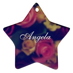 Vintage Monogram Flower Star Ornament (Two Sides) by makeunique