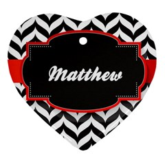 Pattern Black 1 Ornament (heart) by strawberrymilkstore8