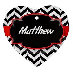 Pattern Black 1 Heart Ornament (two Sides) by makeunique